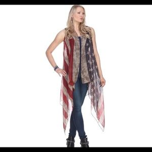 Sweaters - Distressed Stars & Stripes Kimono